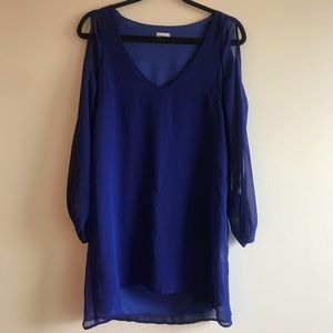 Navy Royal Blue Dress with Sleeve Cut Out